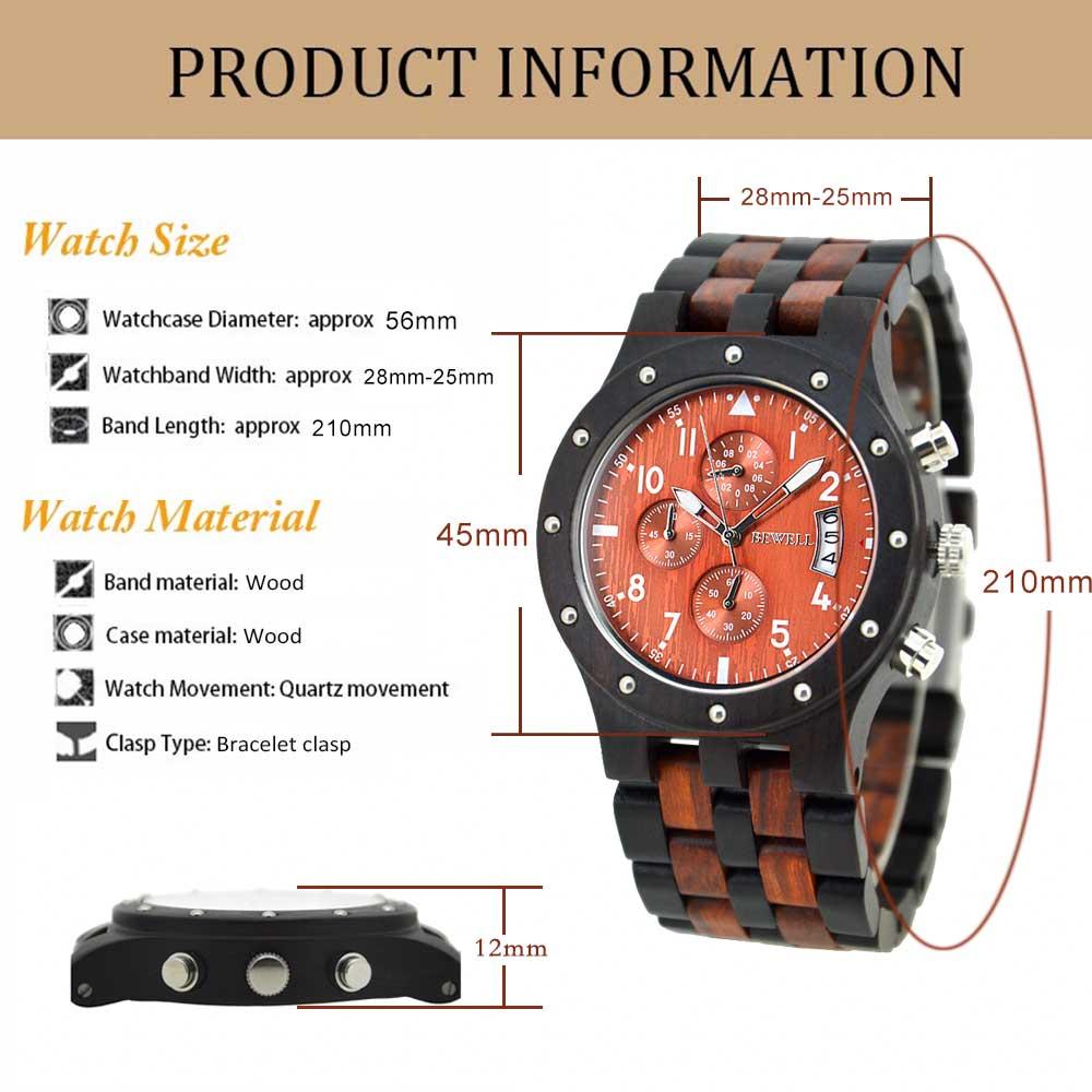 BEWELL Wood Watch Mens Watches Top Brand Luxury Designer Military Watch Quartz Analog Wrist Watch with Chronograph Calendar Date 5