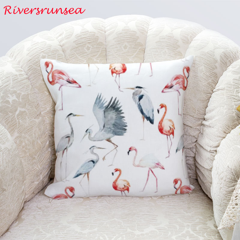 2019 Watercolor Painting Flamingo Plush Cushion Throw Waist Pillow Peacock Bird Panda Cute Animal For Car Sofa And Bedroom