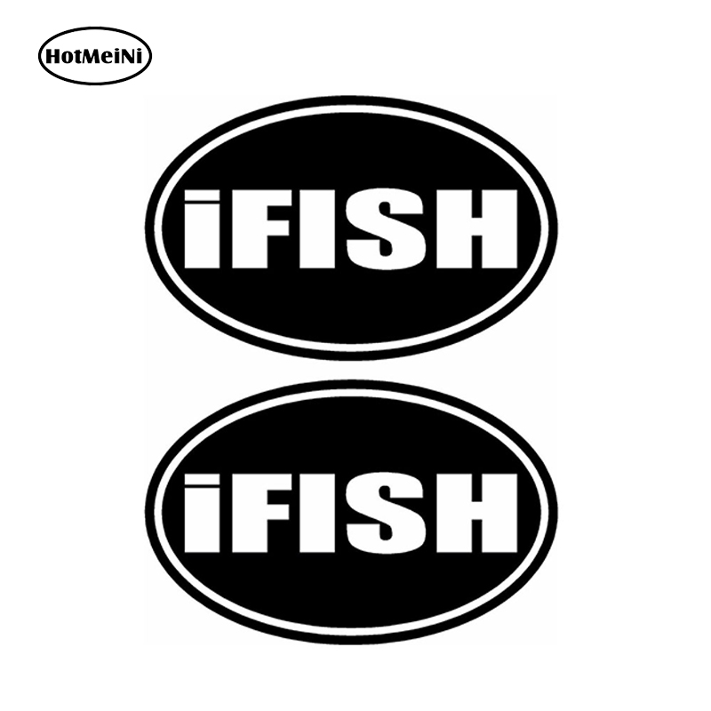 HotMeiNi 12cm 2pcs - iFISH Boat Fishing Car Stickers TROUT WALLEYE BASS CATFISH LURES Bumper Car Accessories Black/Sliver