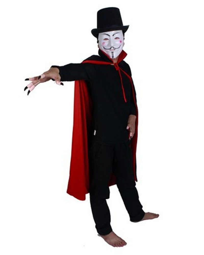 מות ליל כל הקדושים התלבושות בוי גברים תורו למטה צווארון גלימת ערפד שמלת חלוק ללבוש למסיבת קוספליי צד אדום שחור 2 למבוגרים