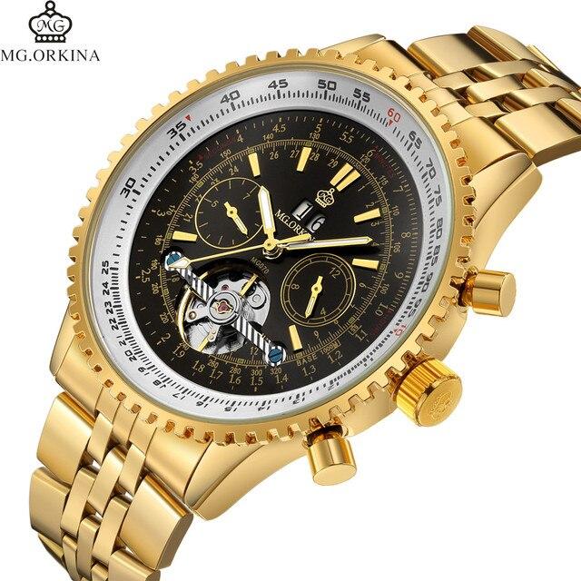 9ab5775fdf9 Famosa Marca de Topo De Ouro ORKINA Relógios Homens de Aço Inoxidável  Relógio Mecânico Automático Turbilhão