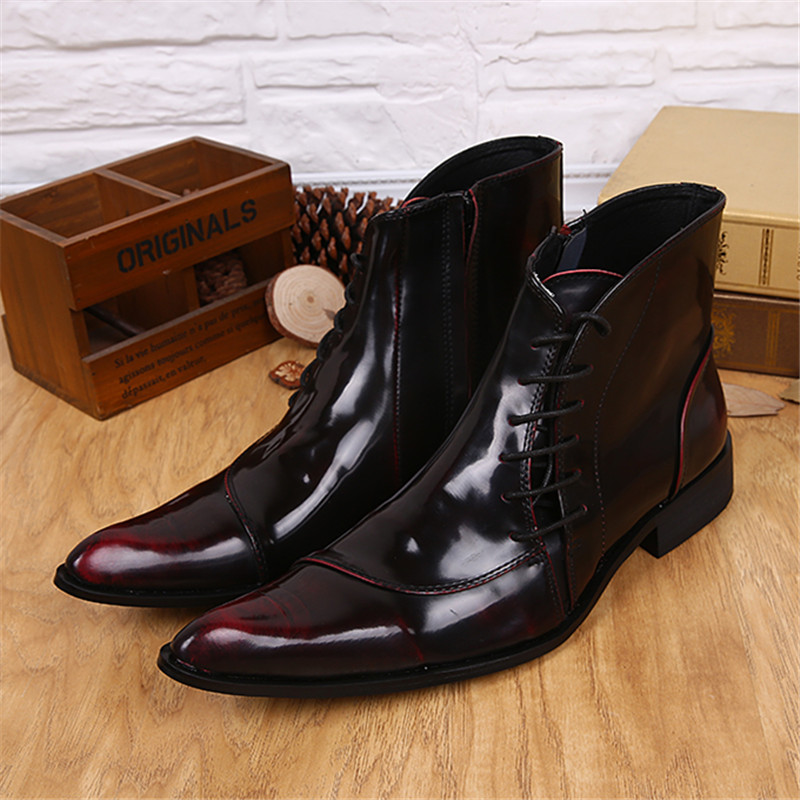 Wine Red Side Zipper Men Ankle Boots Genuine Leather Lace Up Shoes Dress Booties Mens Pointed Toe Cowboy Military Boots недорого