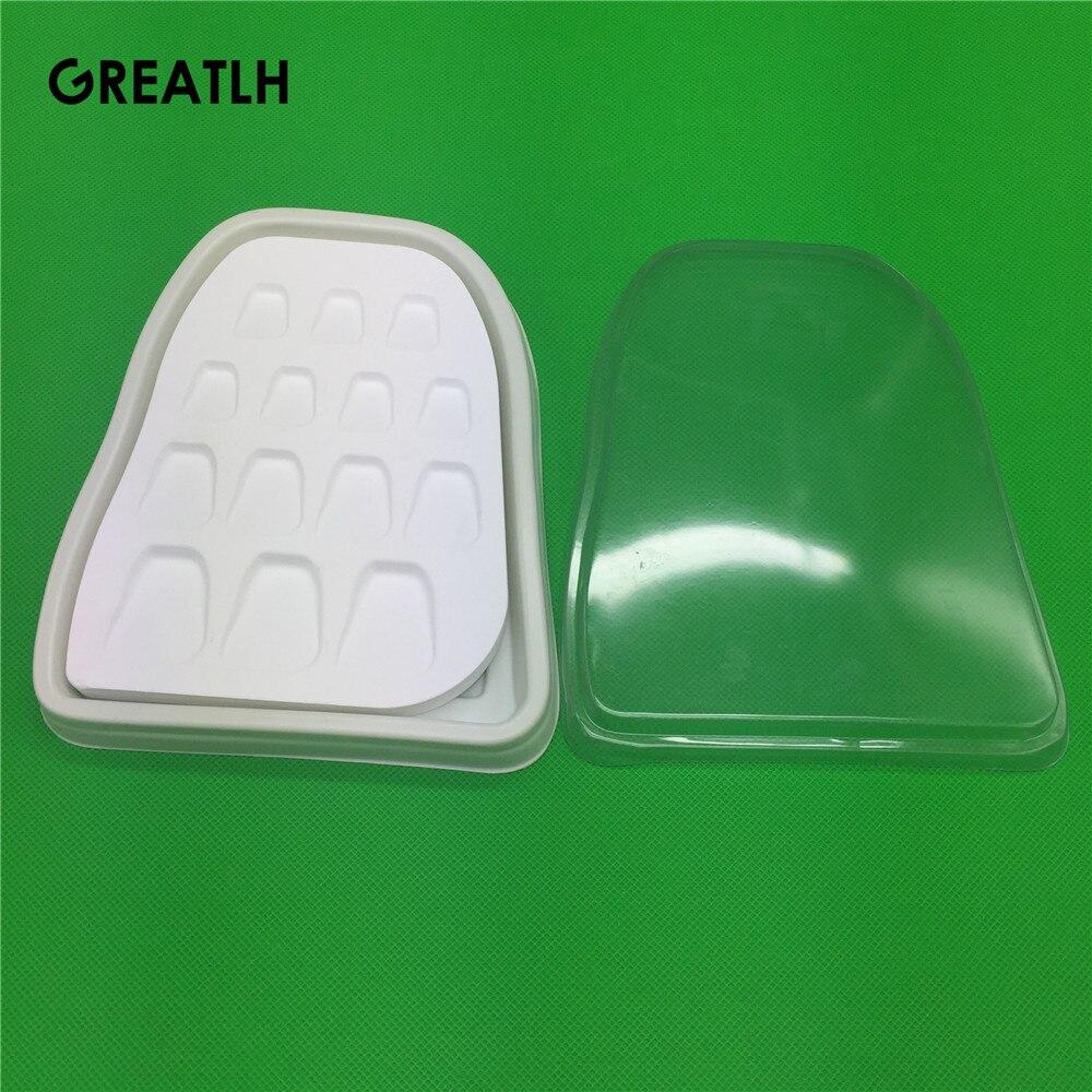 Matériau de laboratoire dentaire plaque d'arrosage en porcelaine plaque de mélange outil de mélange de poudre de tache 14 fentes forme de dent microporeuse