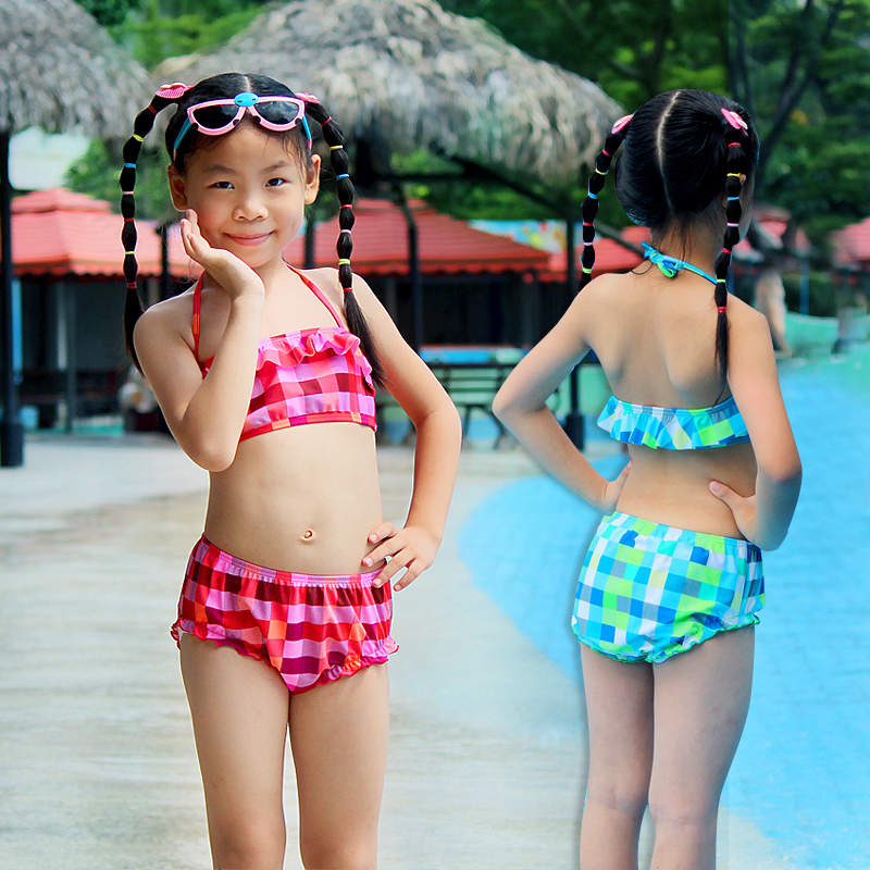 Lamzoom Cute baby Ruffle bikini 2017 Grid children Swimsuit summer pool string halter Bikini for girls Swimwear Kid Bathing suit