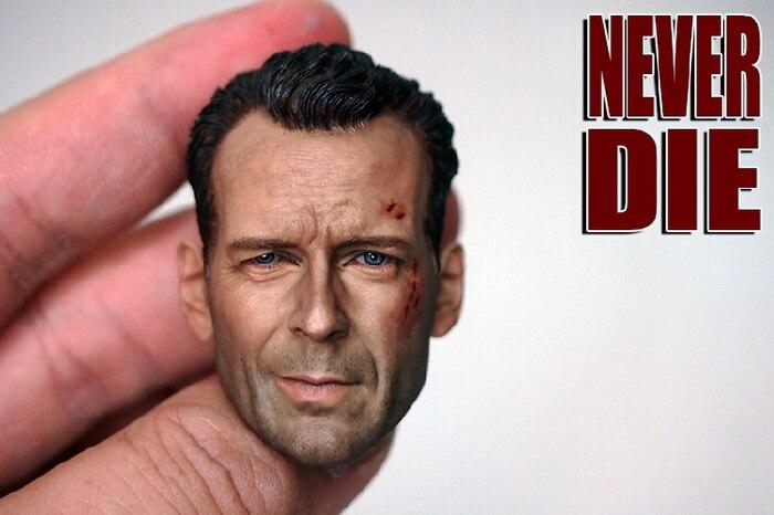 Brand New 1/6 Scale Head Sculpt Die Hard John McClane (Bruce Willis) Head Sculpt Accessories For 12'' Action Figure Model Toy