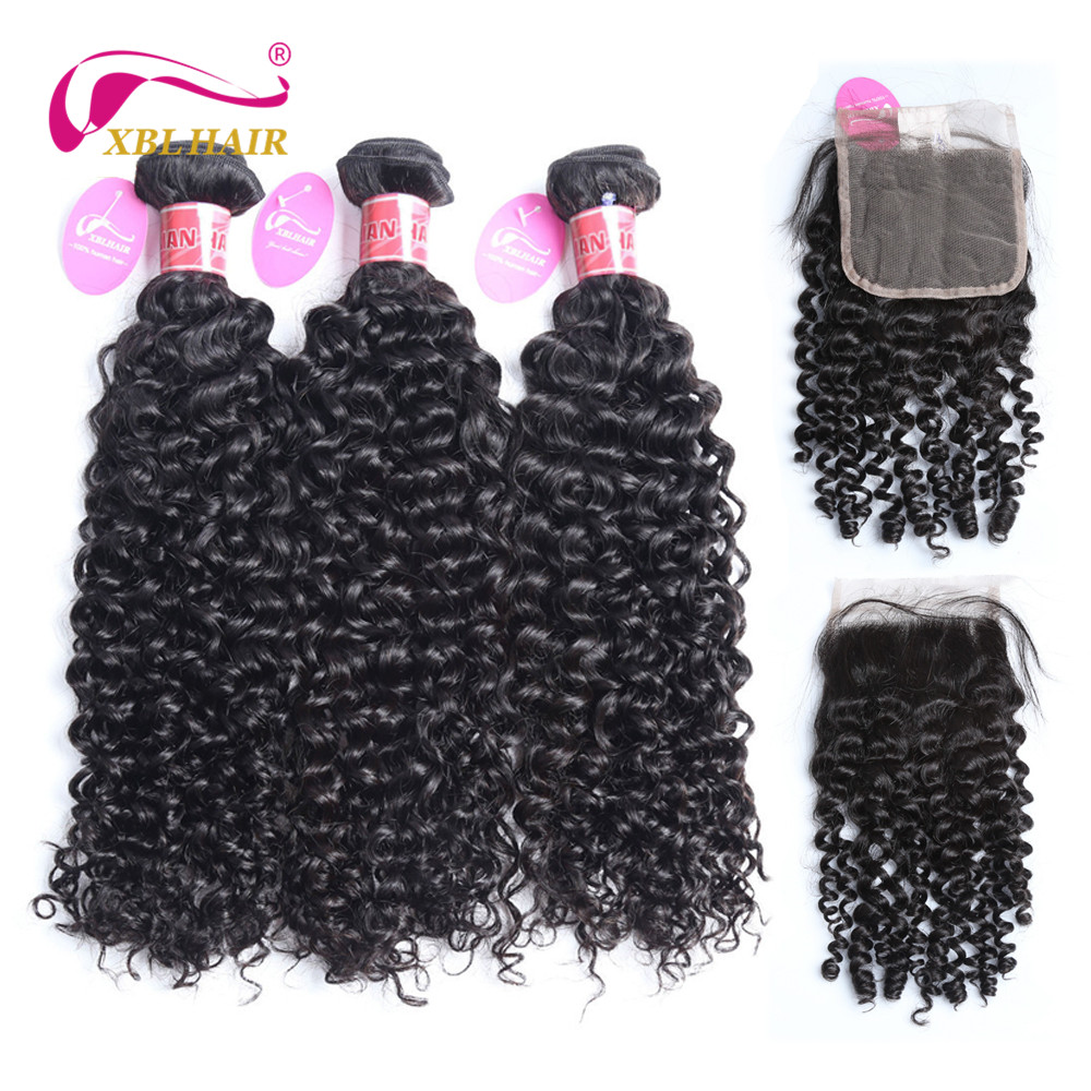 XBL HAIR Curly Bundles With Closure Human Hair Bundles With Closure With Baby Hair Brazilian Remy Hair Extensions