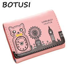 BOTUSI Coin Purses Holders Brand PU Leather Credit Cards Small Luxury Short Womens Wallets Pocket Purse
