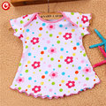 2/5pcs/lot 2017 New Cotton Baby Girls Dress Floral Infant Girls Princess Short Sleeve Clothes Kids Party 1 Year Birthday Dress