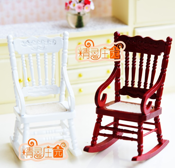 MINI Dollhouse Solid color rocking chair mini furniture accessories white red two-color selection