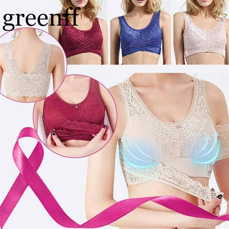 Fashion Women Breathable Adjustable Sports Front Closure Extra-Elastic Lace Trim Bra