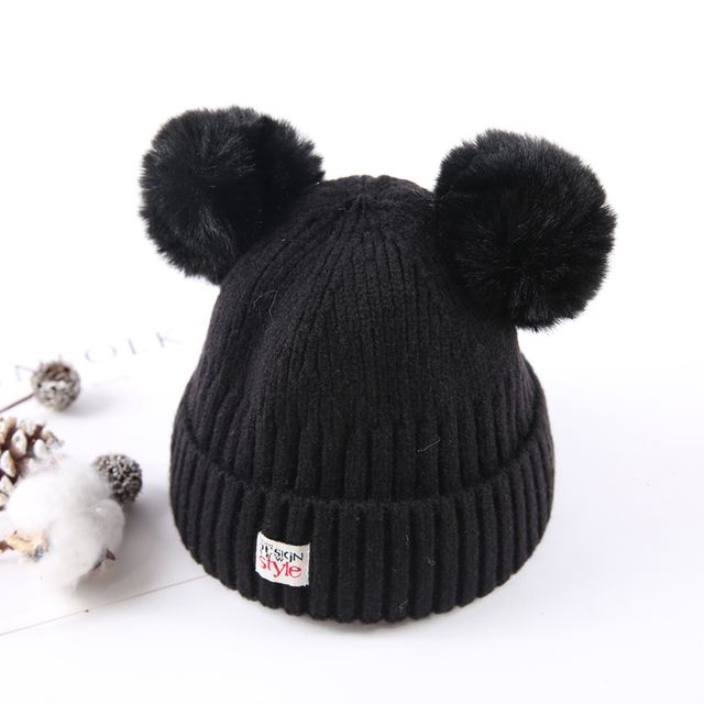 Thick Children Hat Toddler Kids Baby Warm Winter Wool Hat Knit Beanie Pom  Pom Hat Baby Boys Girls Cap 1-3Y Drop Shipping 01fad32f9bb
