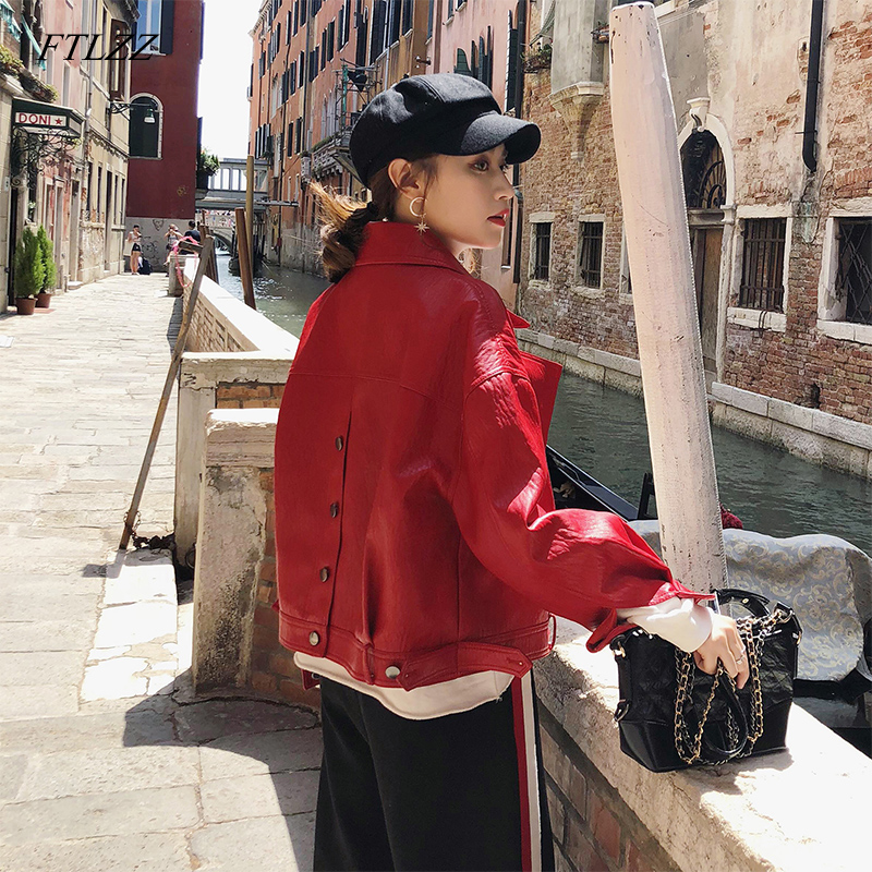 Ftlzz Autumn Faux   Leather   Jacket Women Loose Turndown Collar Single Breasted Motorcycle   Leather   Coats
