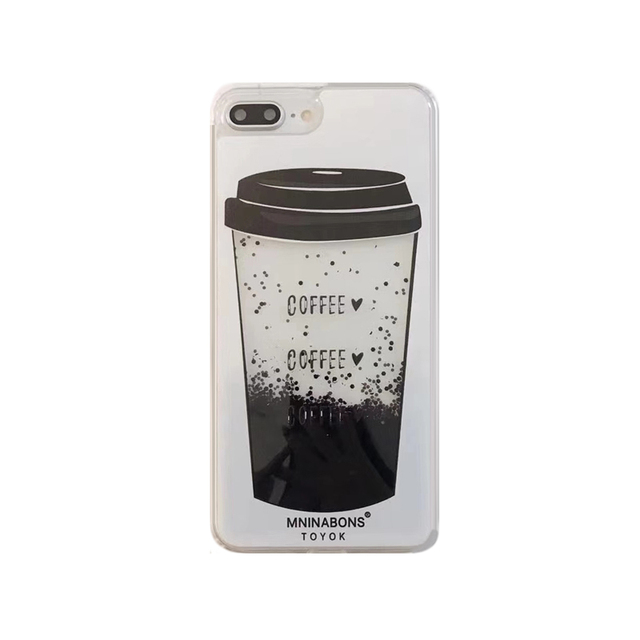 lowest price 27bf9 03b04 US $5.99 |2018 Fashion summer classic coffee cup drink glitter liquid flow  quicksand fine sand black diamond cell phones case For Iphone-in Fitted ...