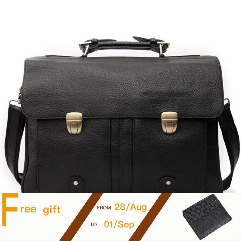 Men Business Handbag Genuine Leather Classic Black Briefcase Fit For 16 Inch Laptop Office Bag PR583820 top layer genuine cowhide coffee classic men s leather briefcase business handbag fit for 15 laptop bag pr577247b 1