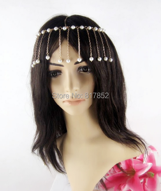 FASHION STYLE MAKER Women New HE010 Chains Head Chains Small White Imitation Pearls Chains Head jewelry 2 Colors