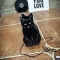 2017 bonito dos desenhos animados preto cat forma cadeia saco crossbody de couro das mulheres ombro causal messenger bag telefone coin bolsas bolsa