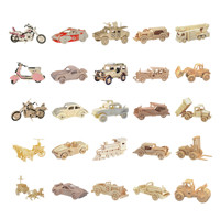 Chanycore Baby Learning Educational Wooden Toys 3D Puzzle Sports Car Motorcycle Jeep Steam Train Classic Vehicles