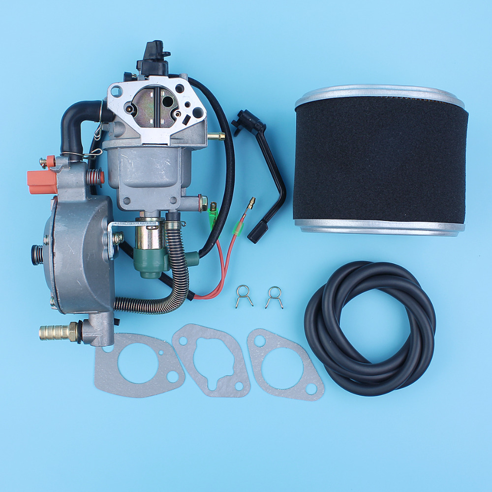 Dual Fuel Carburetor LPG/NG Conversion Kit For Honda GX390 13HP 188F E*6500 E5600 5KW-6.5KW Generator Manual Choke Air Cleaner 5kw lpg conversion kit for honda gx390 ax390 gx420 ic390 389cc e 6500 dual propane petrol carburetor 7500 6 5kw generator