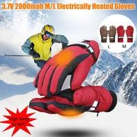 Winter 3.7V 2000mAh Electric Heated Gloves Hand Warmer, Rechargeable Battery Heating Couple Glove, Sport Ski Mittens Men Women
