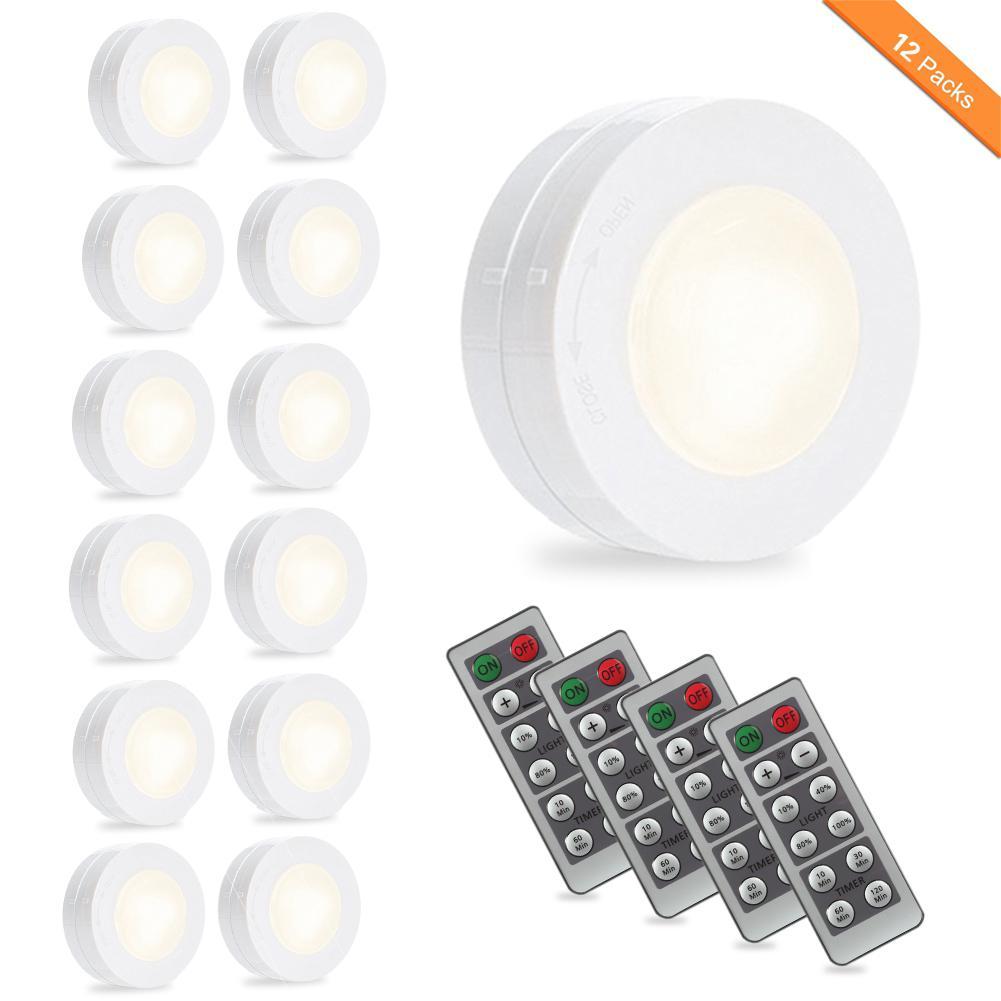 Litake Wireless LED Puck Night Light Dimmer Timer Remote Control Stick-anywhere Hallway Closet Cabinet Luminarias Lighting