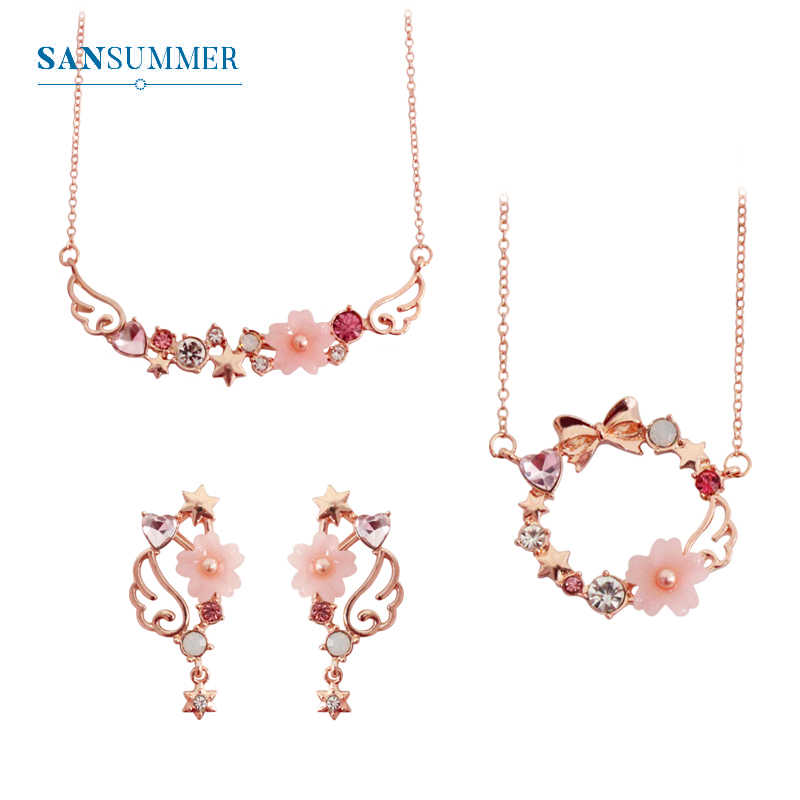 SANSUMMER Women Jewelry Sets 2019 New Girl Gold Pink Bow Sakura Earring Necklace Sweet Lovely Metal Female Jewelry Sets 5709