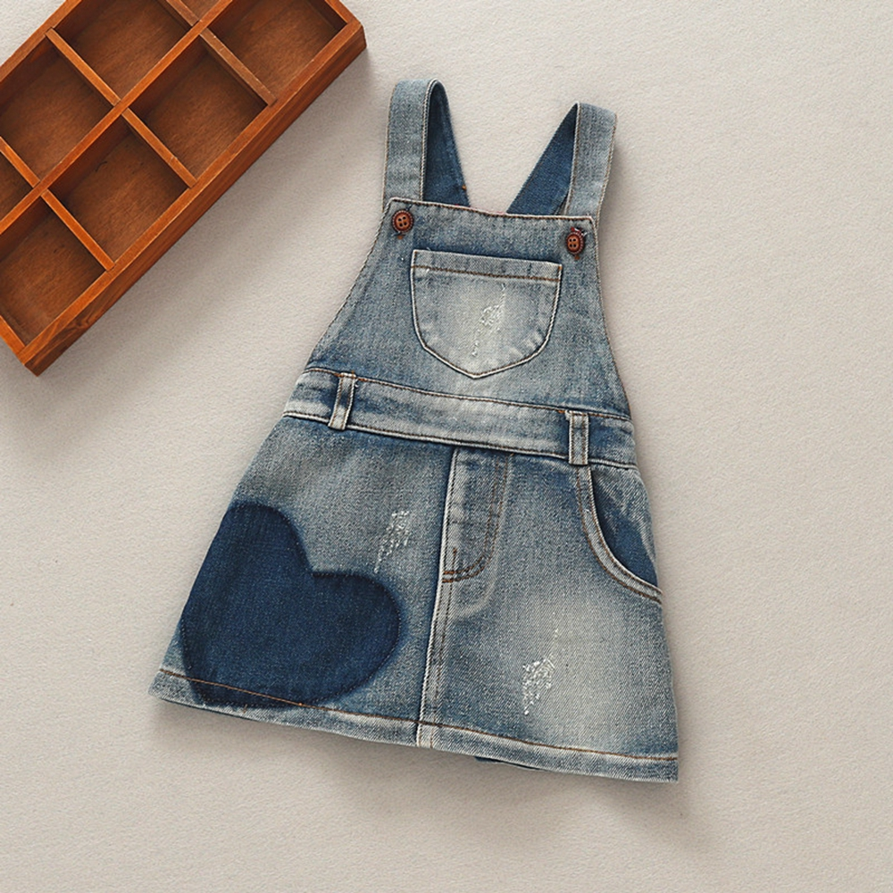 b9fa22619e buy Summer Baby Girls Dress Overalls Kids Cute Heart Denim Jeans Dresses  Toddler Shorts Child Clothing Children Clothes 9M-4T