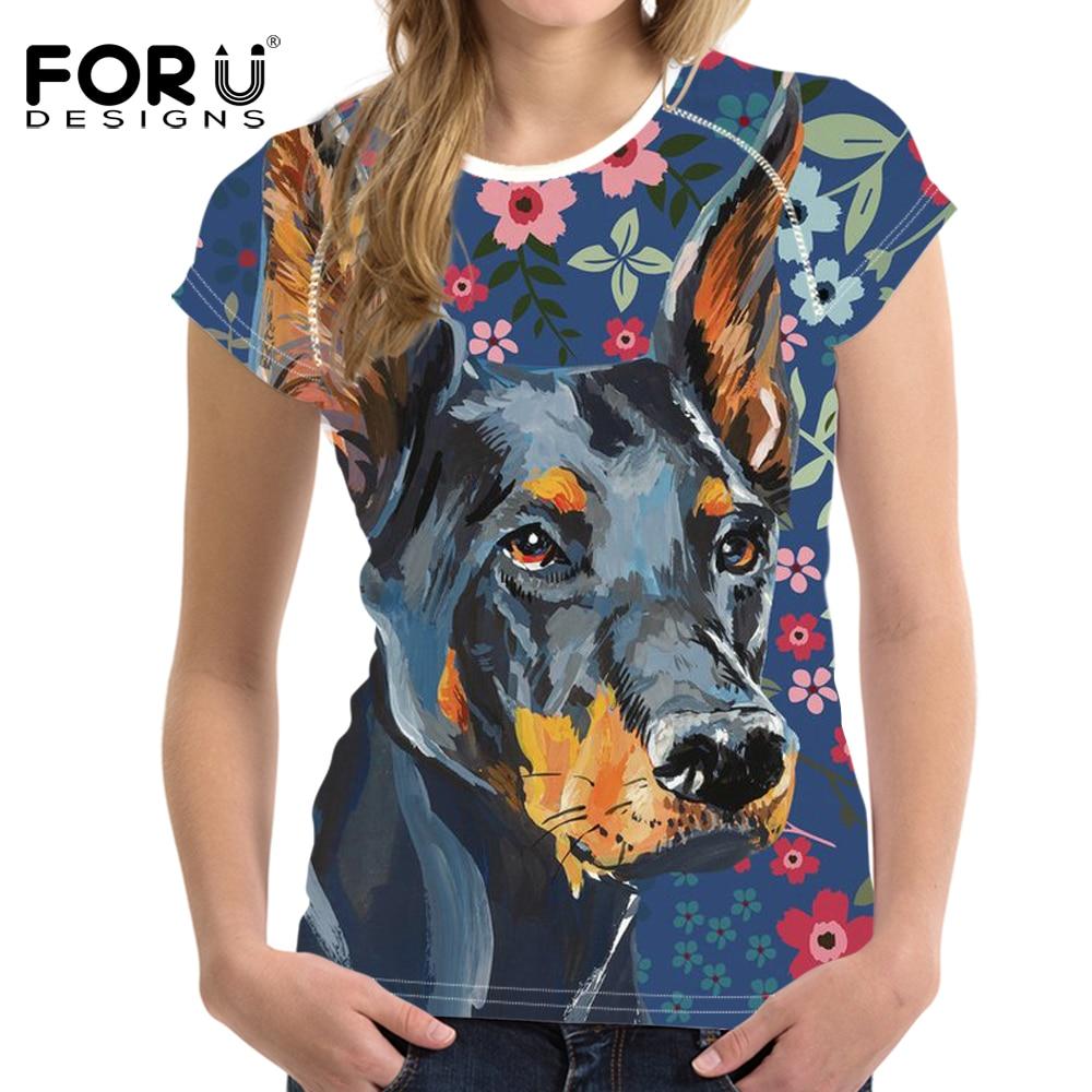 FORUDESIGNS Doberman Flower Printing T Shirt Women Short Sleeve T-shirt Female Fashion Floral Tee for Teen Girls Cute Tops