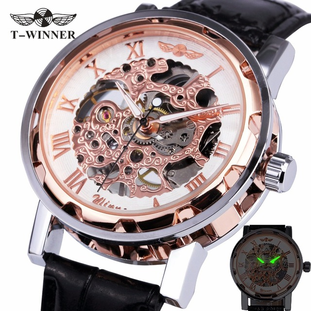 Winner Hand-wind Mechanical Watch Unisex Women's Watch Skeleton Leather Strap Ro