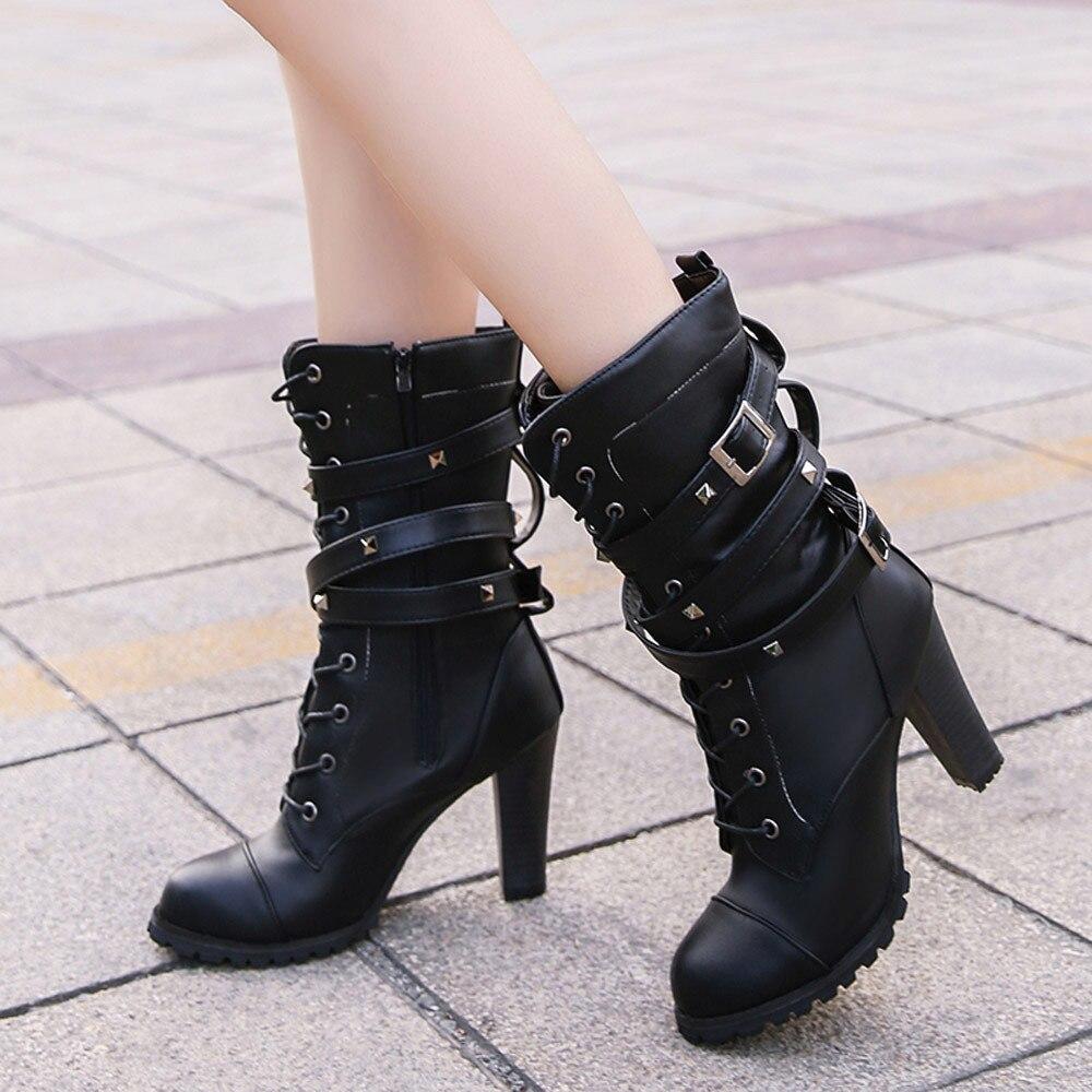 shoes Boots Women Ladies Classics Rivet Belt High Heels Mid-Calf Boots Shoes Martin Motorcycle Zip boots women 2018Oct31 2