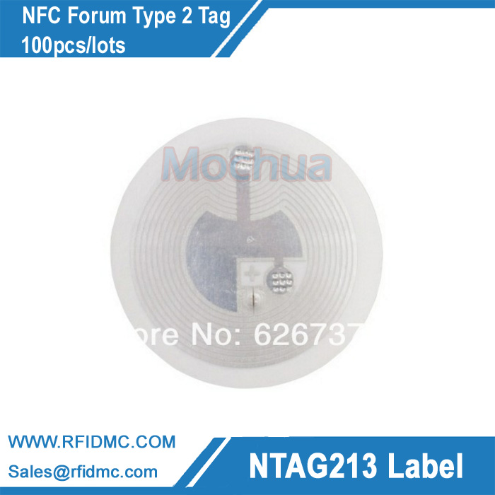 Ntag213, NFC Forum type2 tag, RFID adhesive label, NFC label 100pcs