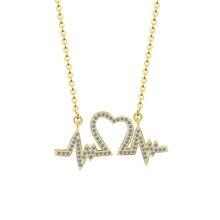 Choker Collier Femme Romantic Jewelry CZ Heartbeat Pendant Necklaces Gold Silver Chain Love Heart Charm Necklace For Women Colar