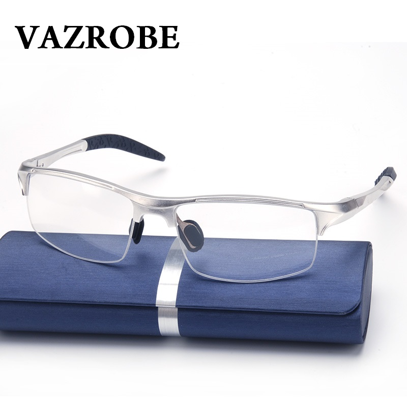 cd53a2cdee Vazrobe (146mm) Eyeglasses Frame Men Sports Spring hinge Eye Glasses Male  half rim prescription Spectacles Man myopia diopter -in Eyewear Frames from  ...