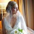 Nuevo Best Selling blanco boda velos de una sola capa corto cristal rebordear velo de novia borde de corte nupcial de 1.5 metros de boda velo XH157