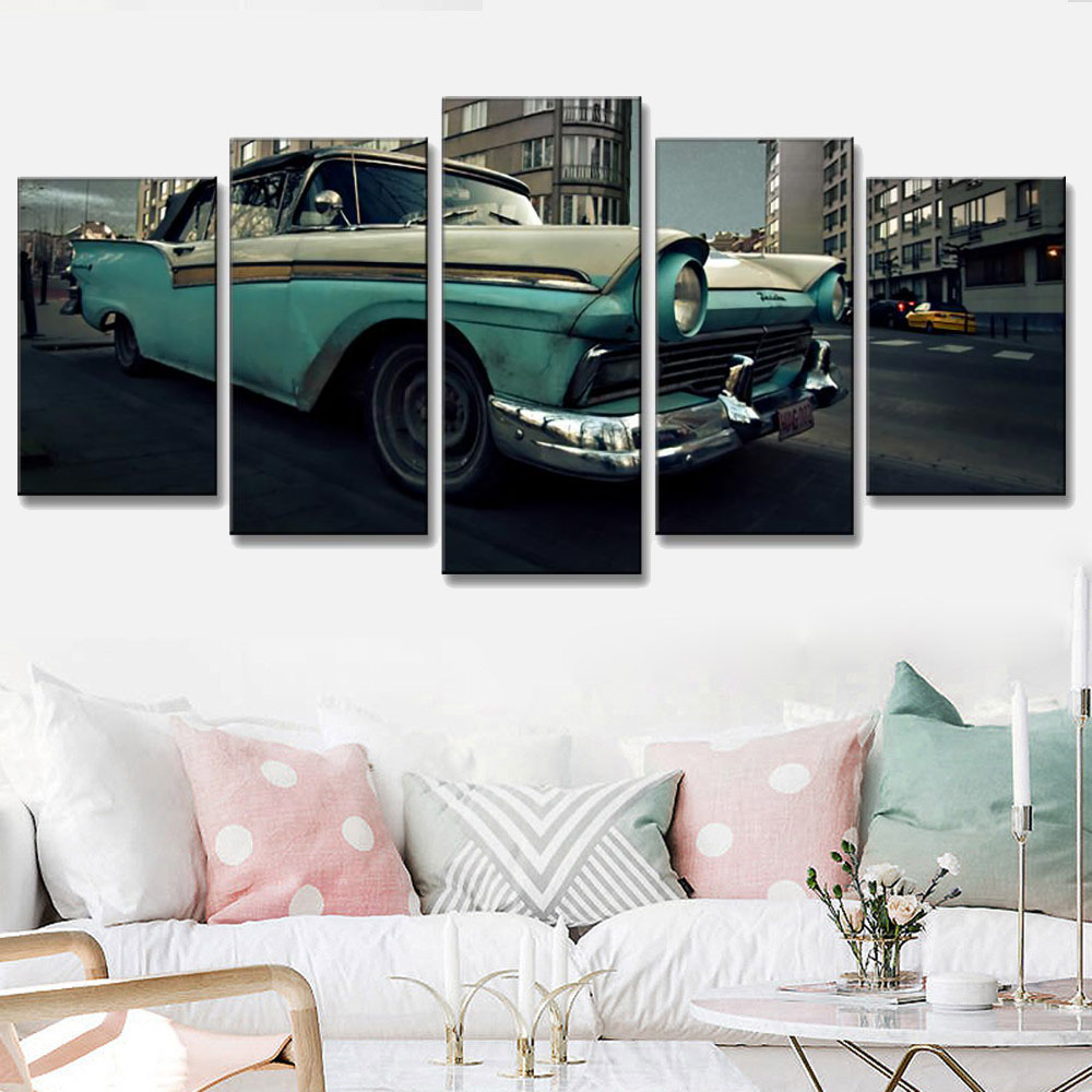 5 Pcs/Set Retro Old Car Canvas Painting Classic Landscape Car Painting Printed On Canvas Wall Art Picture for Bedroom Decorative