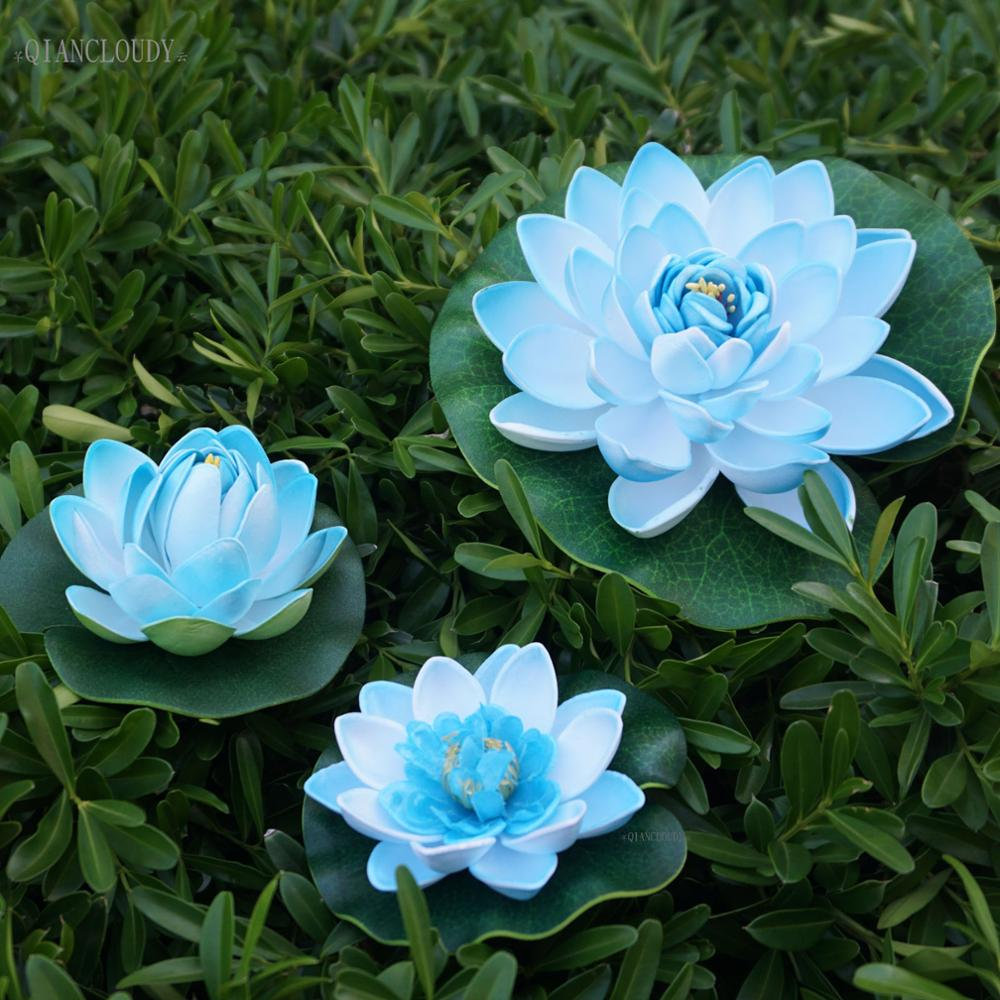 Artificial fake Blue ponds Lotus Leaves flowers Water Lily Floating Pool home garden Swimming Plants Wedding decoration D24(China)