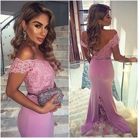 Backless 2017 Mermaid V Neck Cap Sleeves Satin Lace Pink Long Women Prom Dresses Prom Gown