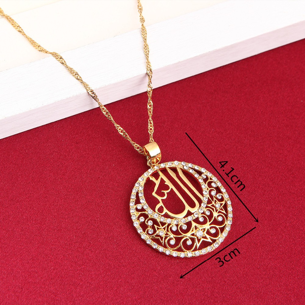 301d54c6c30 Fashion 24k Gold Color Crystal Muslims Allah Pendant Necklace Charm Jewelry  Arabic Islamic High Quality Rhinestone Jewelry