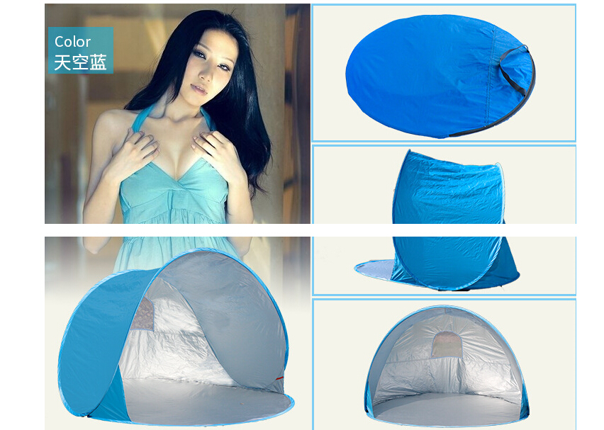 Automatique Pop Up 2 Personne Plage UV soleil abri ombre Camping En Plein Air Tourisme Auvents Pliantes Pêche tente imperméable à l'eau dans Abri du soleil de Sports et loisirs
