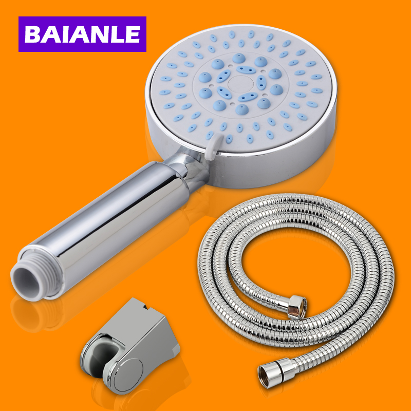 Free shipping Water Saving Shower Head Set ABS Plastic Chrome Hand Bathroom Shower with Holder and Hose Douche