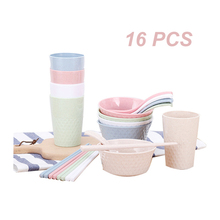 цена на 16PCS Wheat Straw Dinnerware Set Tableware Suit Cutlery Set Canteen Family Children Cup Bowl Chopsticks Fork Spoon Color Box