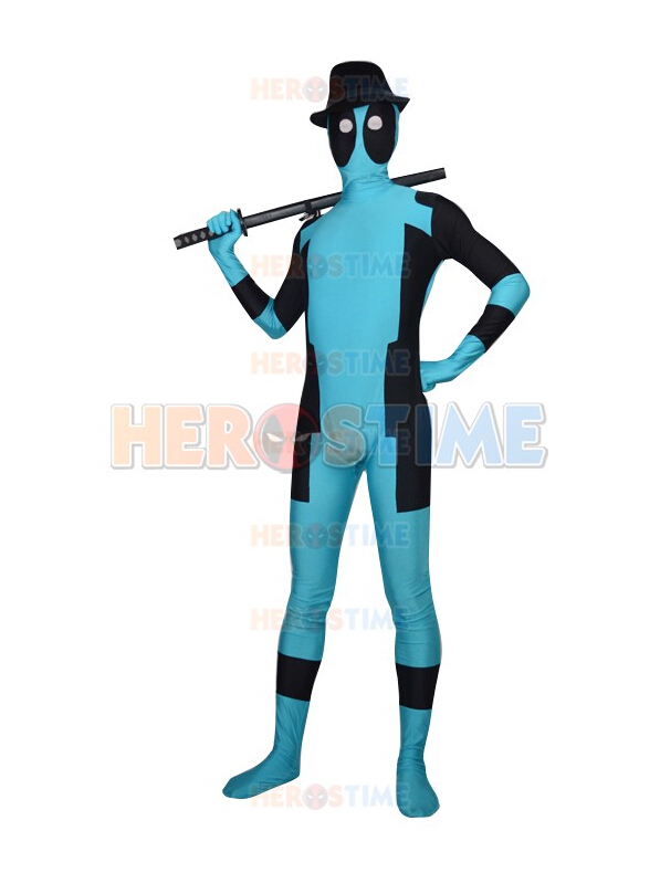 (DP903) Sky Blue  Deadpool Superhero Costume Lycra Spandex Superhero Cosplay Halloween Party Costume Unisex Fetish Zentai Suits
