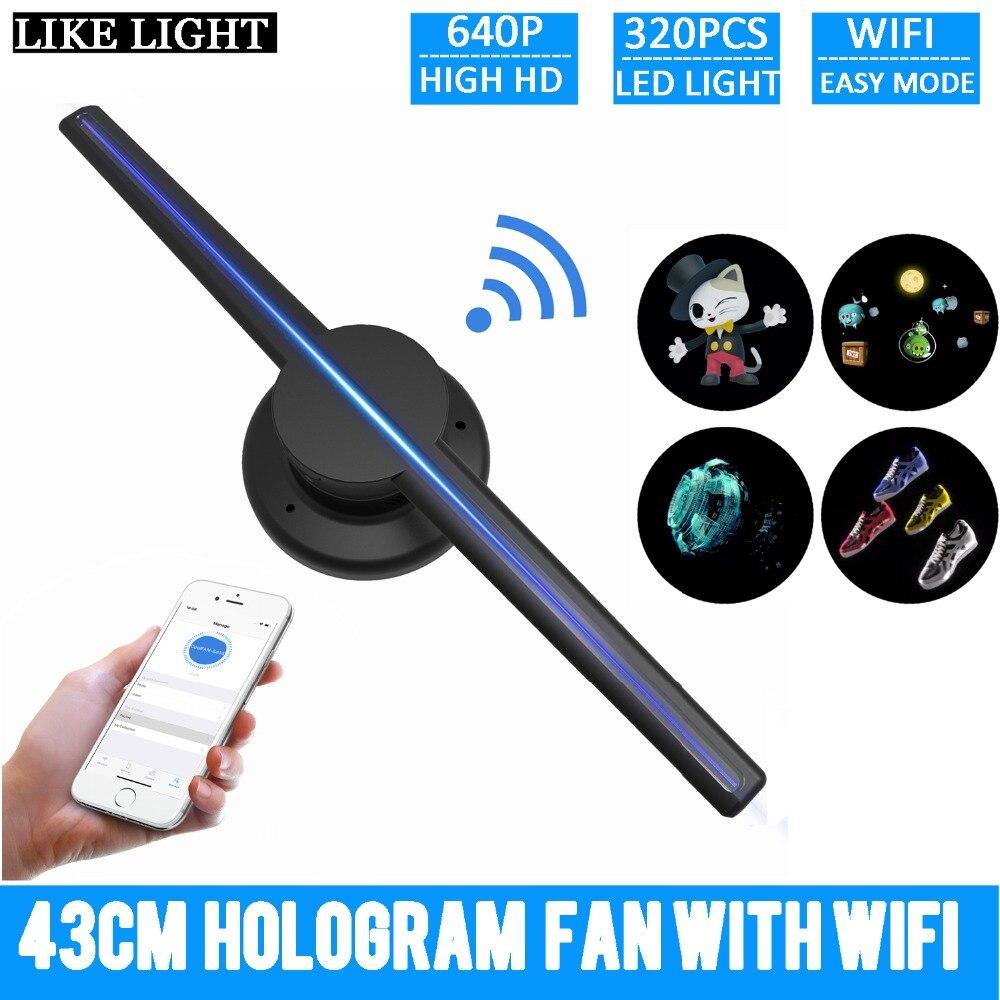 Livraison gratuite 42 cm/16.54 Wifi 3D holographique projecteur hologramme lecteur LED affichage ventilateur publicité lumière APP contrôle pour inddor
