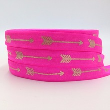 "10Y/lot Copper Foil Arrow Print FOE 5/8"" Neon Pink Arrows Fold Over Elastic Ribbon for DIY Headwear Hair Tie Hair Accessories"