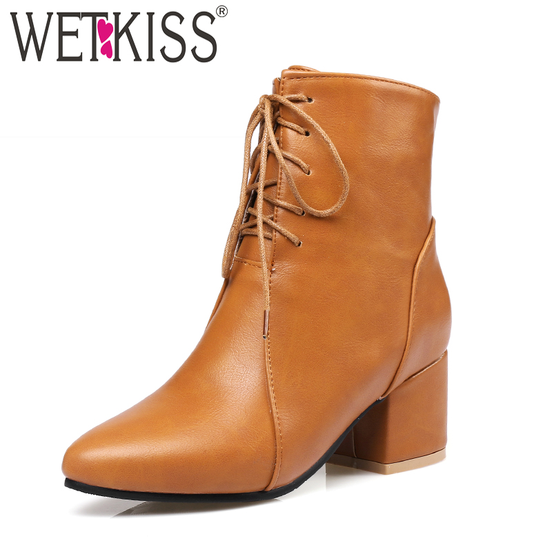 WETKISS Autumn Short Plush Woman Ankle Boots Shoelaces Pointed Toe Footwear Winter Fashion Boots 2018 High Heels Female ShoesWETKISS Autumn Short Plush Woman Ankle Boots Shoelaces Pointed Toe Footwear Winter Fashion Boots 2018 High Heels Female Shoes
