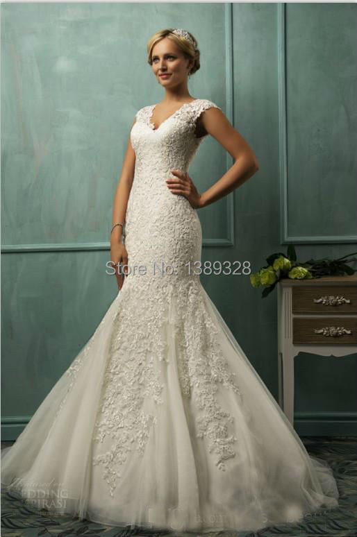 2014 New V Neck Cap Sleeve Lace Tulle Mermaid Wedding Gowns ...