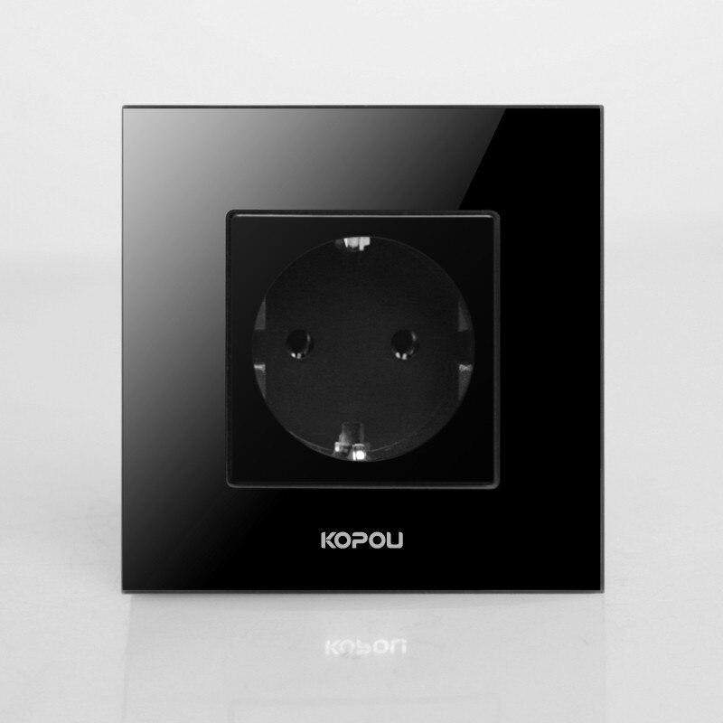 Free shipping , EU Power Socket, Schuko, Black Crystal Glass Panel, 16A EU Standard Wall Outlet KP001EU-B