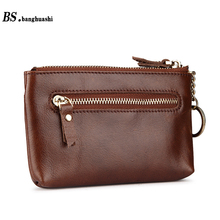 Genuine Oil Wax Cow Leather Skin Women Wallet Short Coin Purse Small Vintage Wallet Femal Brand Designer Women Coin Purse