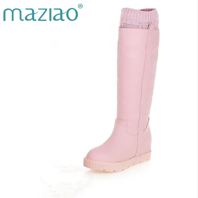 MAZIAO female sweet pink high leg snow boots platform within the high heels thickening thermal winter boots size 34 39