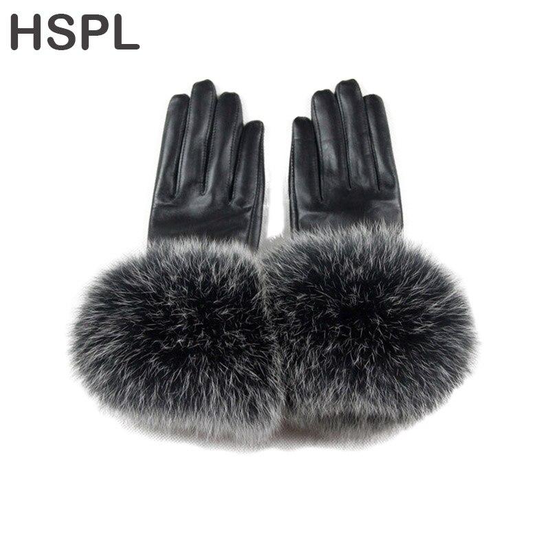 HSPL 2017 gants en cuir véritable de luxe en fourrure de renard pour femmes gants en daim thermique