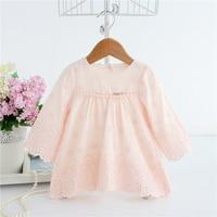 Baby Dresses Long Sleeve Floral Jacquard Dress White Pink Newborn Girls 1 Year Birthday Dress Embroidered Baptism Vestidos A014